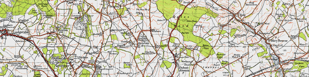 Old map of Wildhern in 1945