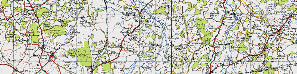 Old map of Wildmoor in 1945