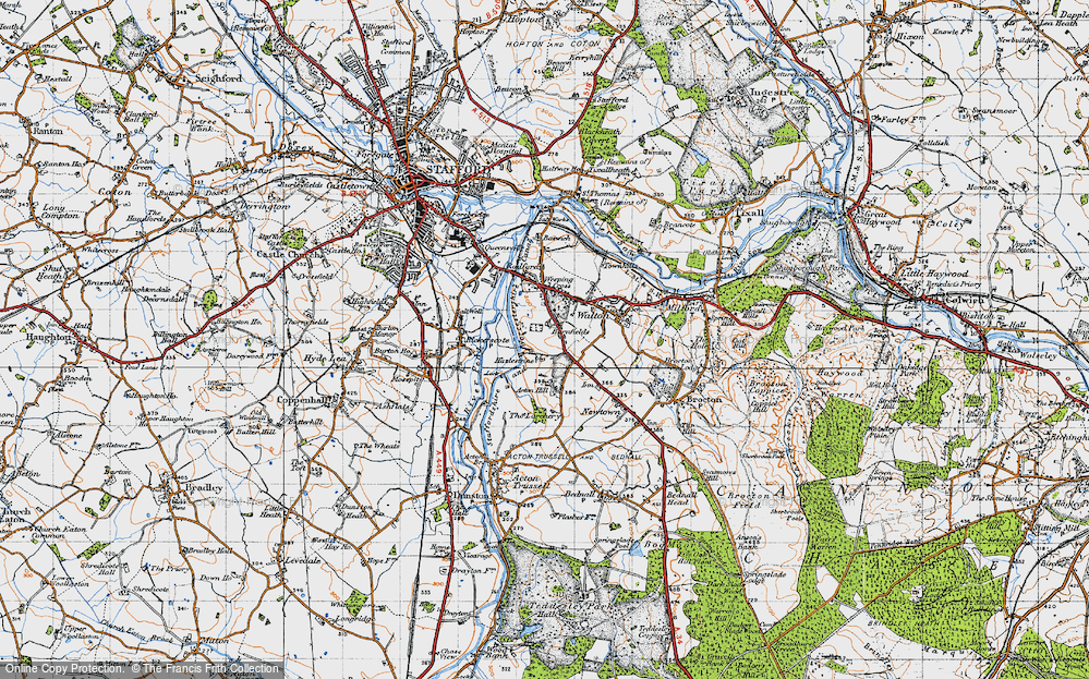 Old Map of Historic Map covering Larchery, The in 1946