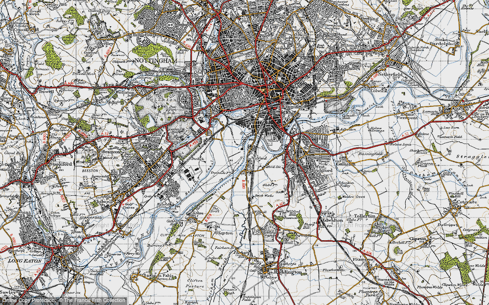 Old Map of Wilford, 1946 in 1946