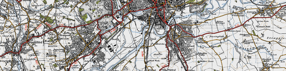 Old map of Wilford in 1946