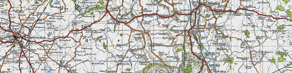 Old map of Wilkesley in 1947