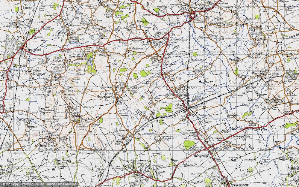Old Map of Wilkin Throop, 1945 in 1945