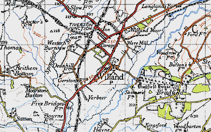 Old map of Willand in 1946
