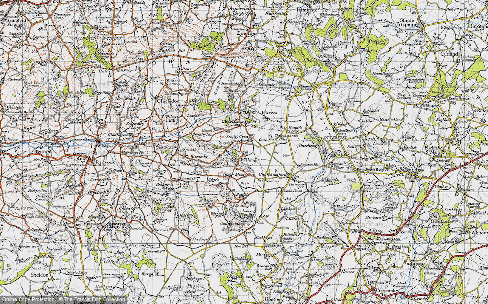 Old Map of Willand, 1946 in 1946