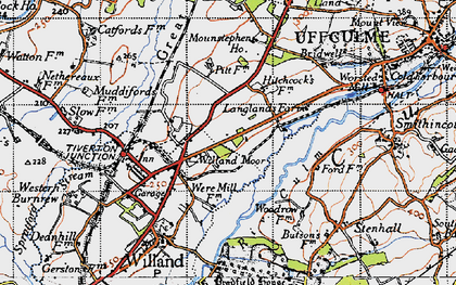 Old map of Willand Moor in 1946