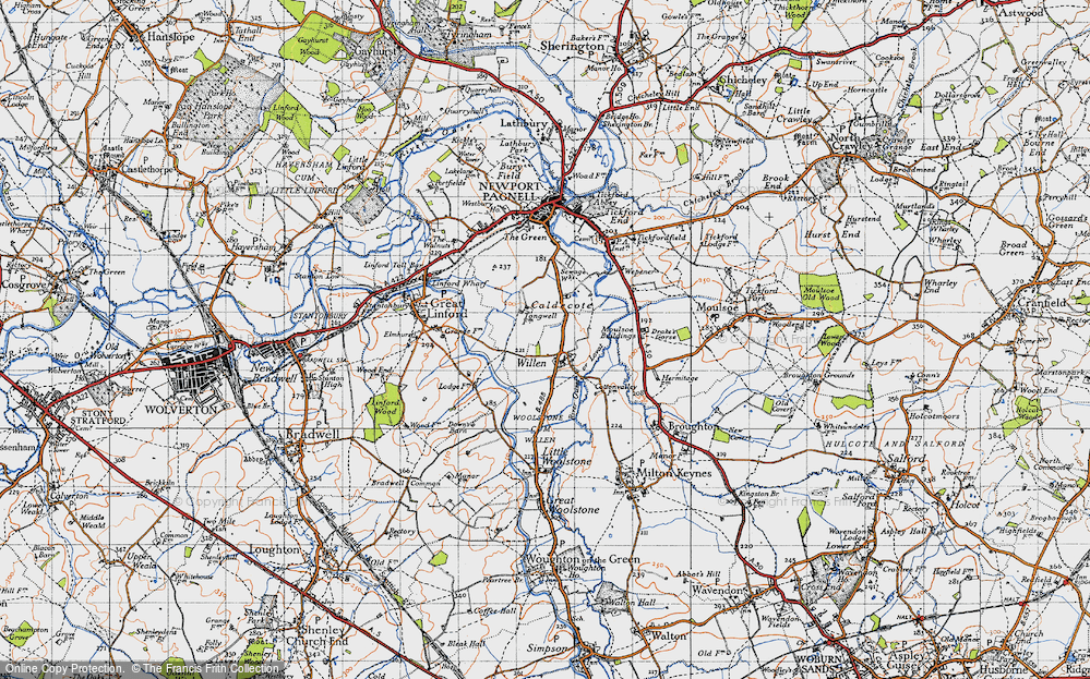 Old Map of Willen, 1946 in 1946