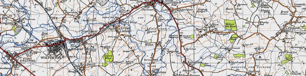 Old map of Willen in 1946