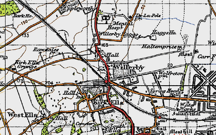 Old map of Willerby in 1947