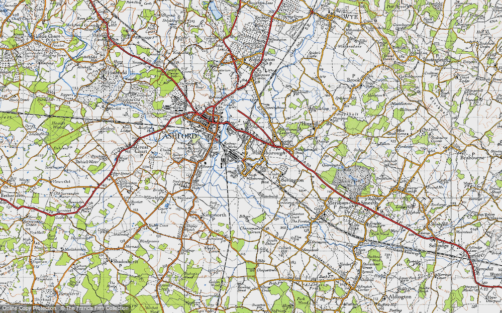 Old Map of Willesborough, 1940 in 1940