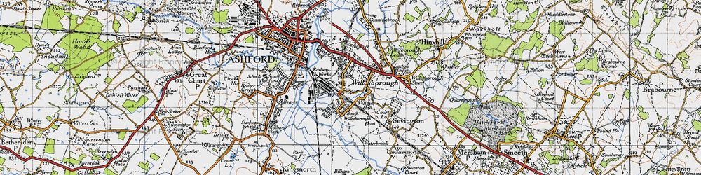 Old map of Willesborough in 1940