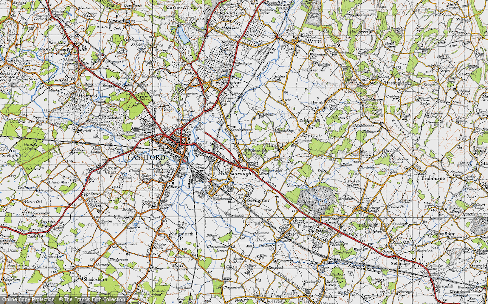 Old Map of Willesborough Lees, 1940 in 1940