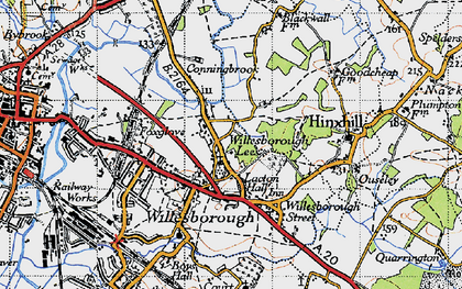 Old map of Willesborough Lees in 1940