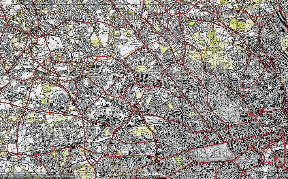Old Map of Willesden, 1945 in 1945