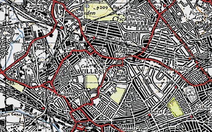 Old map of Willesden in 1945