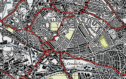 Old map of Willesden Green in 1945