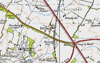 Old map of Willey in 1946