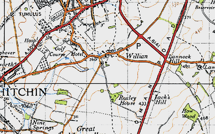 Old map of Willian in 1946