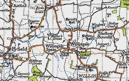 Old map of Willingale in 1946