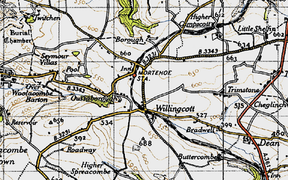 Old map of Willingcott in 1946