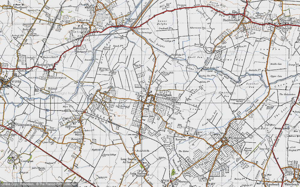 Old Map of Historic Map covering Cambridgeshire in 1946