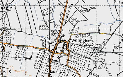 Old map of Willingham in 1946