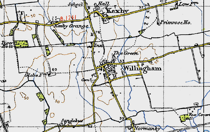 Old map of Willingham by Stow in 1947