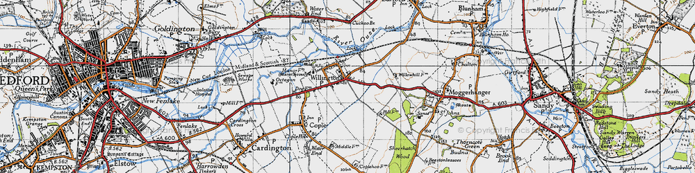 Old map of Willington in 1946