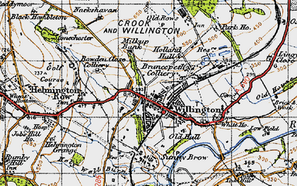 Old map of Willington in 1947