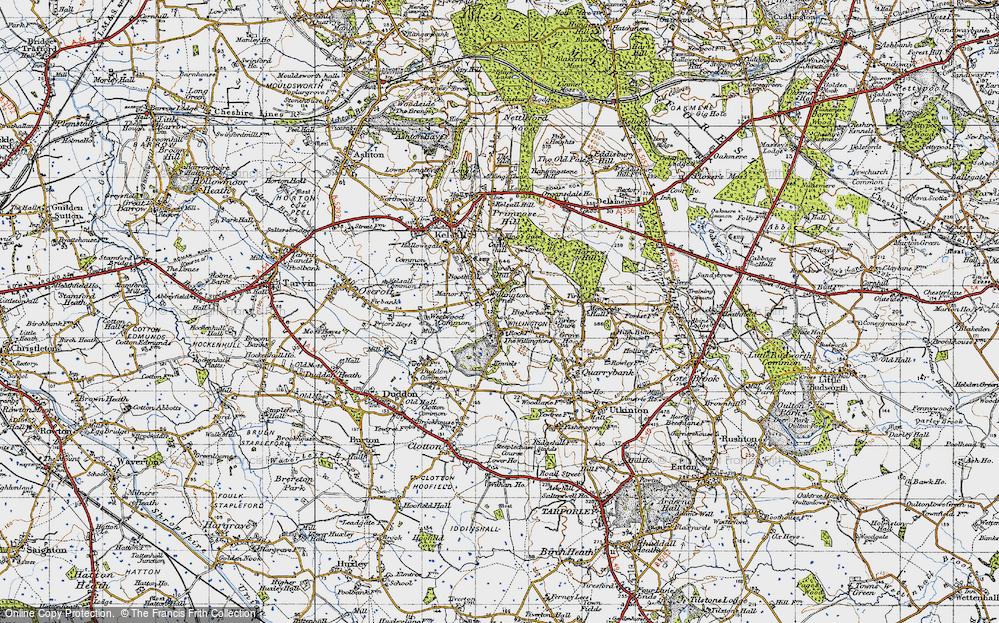 Old Map of Willington Corner, 1947 in 1947