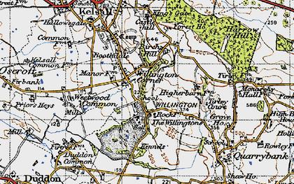 Old map of Willington Corner in 1947
