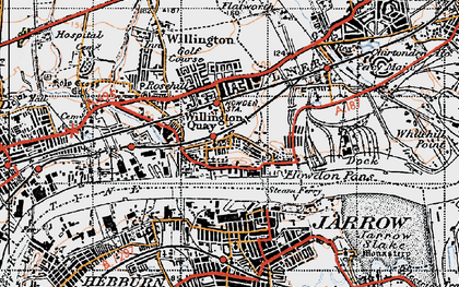 Old map of Willington Quay in 1947