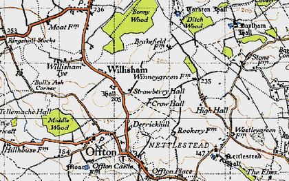 Old map of Willisham in 1946