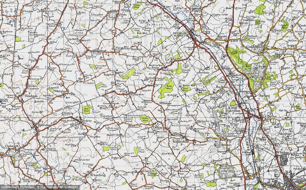 Old Map of Willisham Tye, 1946 in 1946