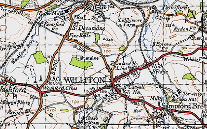 Old map of Williton in 1946