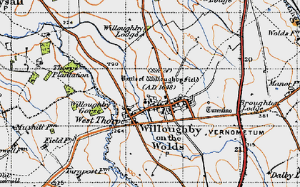 Old map of Willoughby-on-the-Wolds in 1946