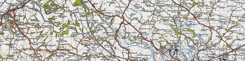 Old map of Willow Green in 1947