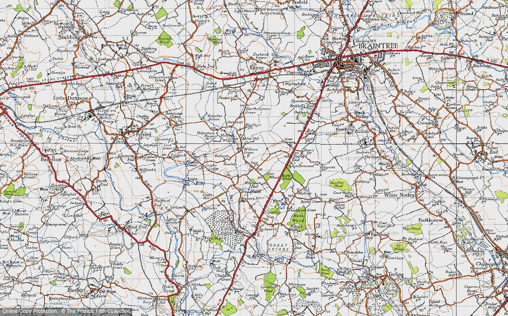 Old Map of Willows Green, 1945 in 1945