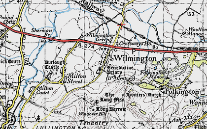 Old map of Windover Hill in 1940