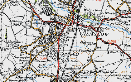 Old map of Wilmslow in 1947