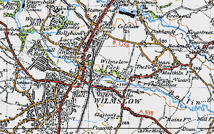 Old map of Wilmslow Park in 1947