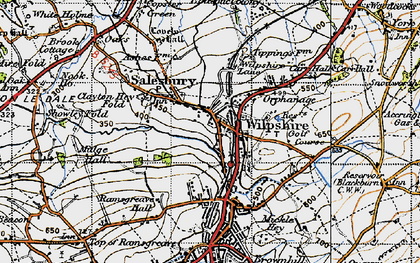 Old map of Wilpshire in 1947