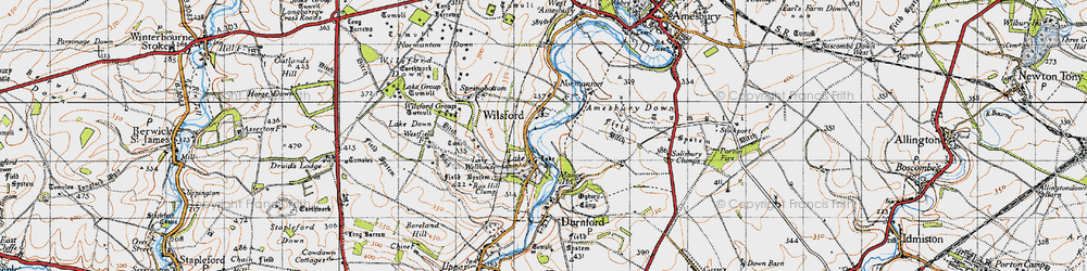 Old map of Wilsford in 1940