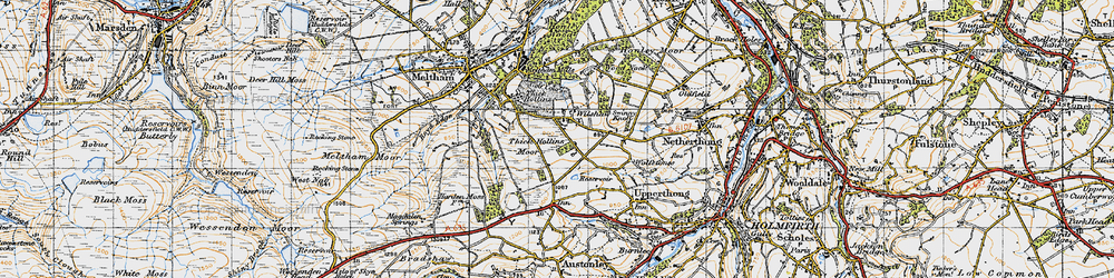 Old map of Wolfstones Height in 1947