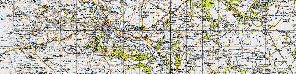 Old map of Wilsill in 1947
