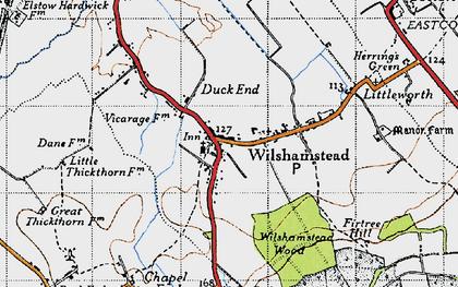 Old map of Wilstead in 1946