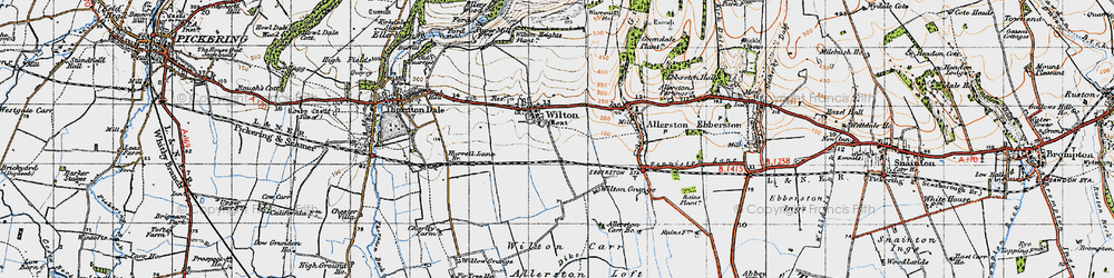 Old map of Wilton Carr in 1947
