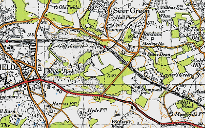 Old map of Wilton Park in 1945