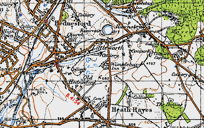 Old map of Wimblebury in 1946