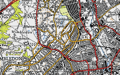 Old map of Wimbledon in 1945